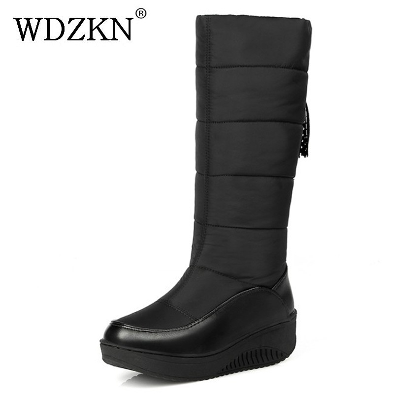 WDZKN Down Waterproof Snow Boots Women Winter Warm Shoes 2017 Mid-Calf Thick Fur Slip On Wedge Women Boots Botas Mujer HHX-39B58 new fashion superstar brand winter shoes embroidery snow boots tassel women mid calf boots thick heel causal motorcycles boots