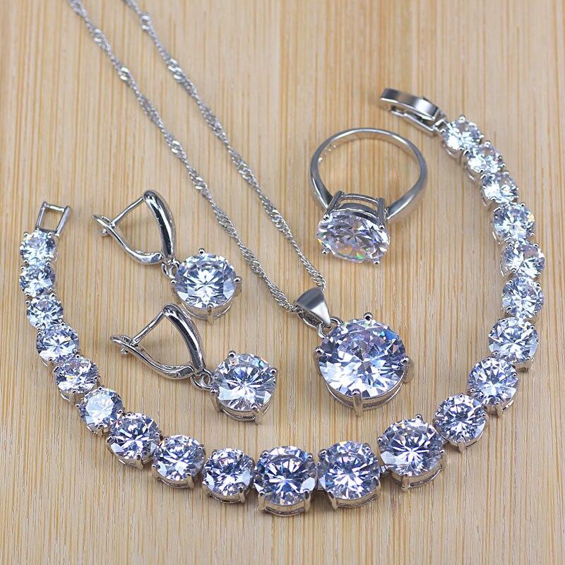 62606f87692a Conjunto de joyas de plata de ley 925 con colgante de collar de cristal de  champán, juego de joyas para mujer, regalos de San Valentín