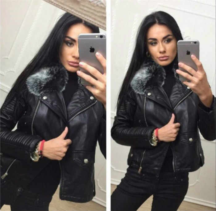 Ladies' Black Leather Jackets 2018 New Autumn Winter Faux Lambs Warm Pvc Coat Woman Slim Long Sleeved Motorcycle Bikers Jacket