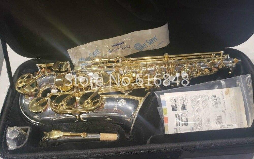 Júpiter JAS 1100SG Eb Alto Sax saxofone Instrumento Musical de Prata Banhado Laca Chave de Ouro Corpo Com Bocal Frete Grátis