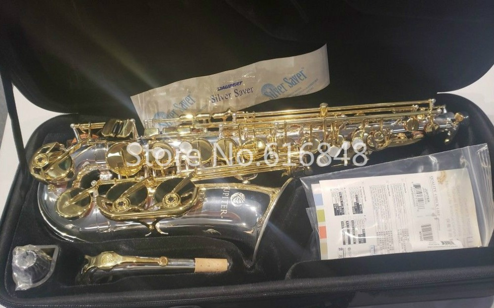 Jupiter JAS 1100SG Alto Eb saxophone Musical Instrument Silver Plated Body Gold Lacquer Key Sax With Mouthpiece Free Shipping