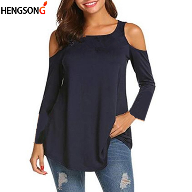 New Casual Tee Tops Women Tshirt Sexy Off Shoulder Solid Long Sleeve T-Shirt Spring Autumn Women Clothes Female T Shirt