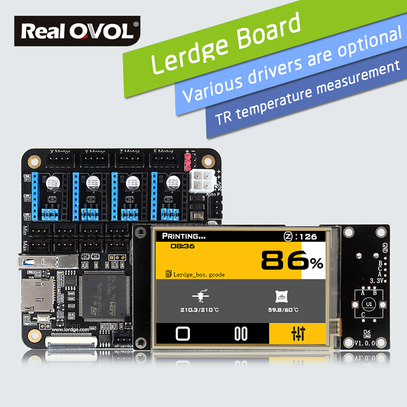 RealQvol Lerdge-S Board 3D Printer Board ARM 32Bit Controller Motherboard with 3.5 TFT Touch Screen Control Mainboard Kit Diy chip lqfp32 stm32f030k6t6 patch 32 bit arm micro controller