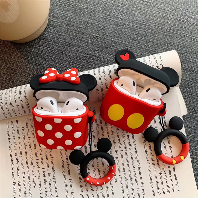 Cute Mickey Minnie Wireless Bluetooth Silicone Case For Apple Airpods Protective Cover Air Pods Earphone Cases Cartoon Key Ring