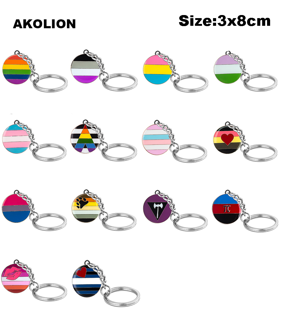 LGBT Pride Rainbow <font><b>Asexual</b></font> Bisexual Metal Key <font><b>Rings</b></font> Jewelry Keychain for Car Wallet Bag DIY Accessories Gift image