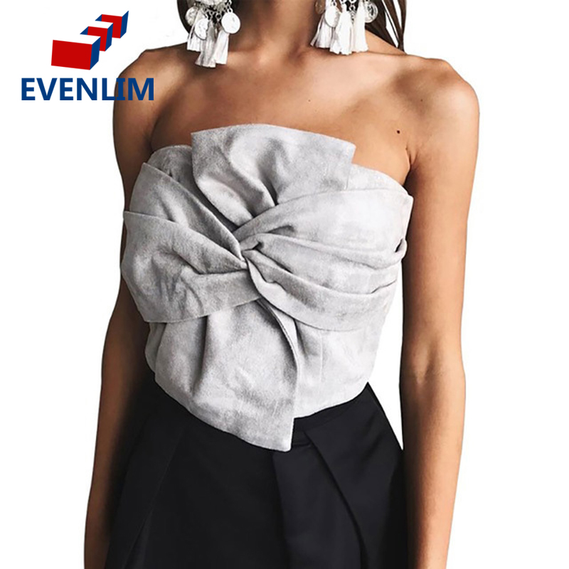 Sexy Suede Bow Strapless Top Casual Spring Zipper Camisole Tank Women Tops Elegant Evening Party Club