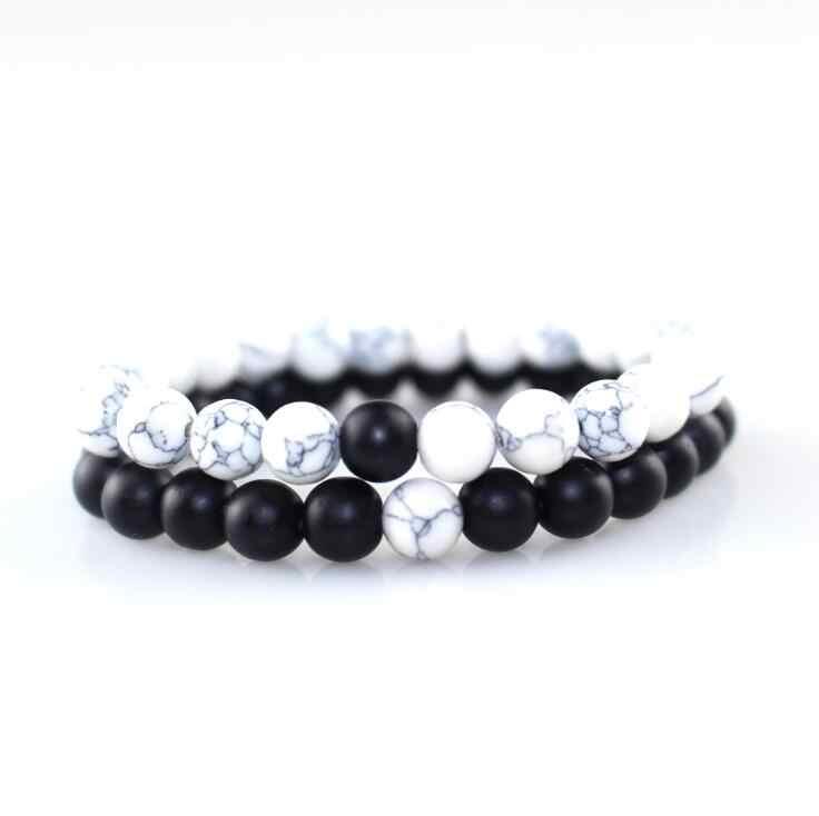 2 Pcs Gelang Bangles Set Klasik Gelang Manik-manik Batu Alam Putih Hitam Yin Yang Jarak Gelang untuk Wanita Pria Terbaik hadiah