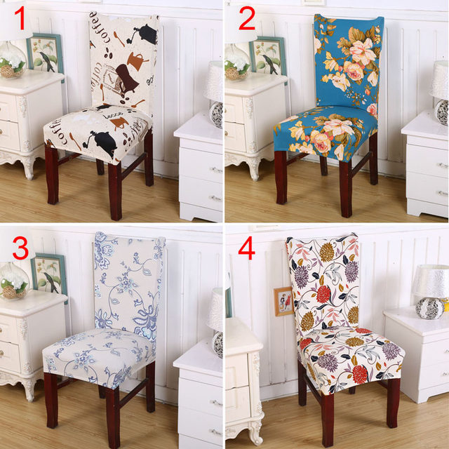 Floral Print Chair Cover Spandex Elastic Stretch Slipcover Dining Chair Seat  Covers Home Restaraunt Decor 2017ing