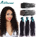Peruvian Deep Wave Curly With Closure 3 Bundles Deep Wave Virgin Hair With 4x4 Lace Closure Peruvian Virgin Hair With Closure