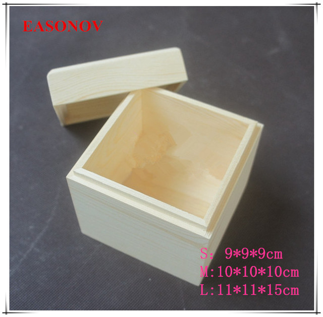 Easonov Multi Size Optional Square Wooden Storage Box Solid Wood Jewelry