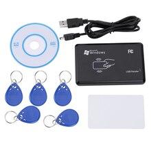 125 KHz تتفاعل ID EM قارئ بطاقات الكاتب ناسخة مع 5 قطعة EM4305 مفتاح العلامة + T5577 بطاقة لمراقبة الدخول السلامة المنزلية