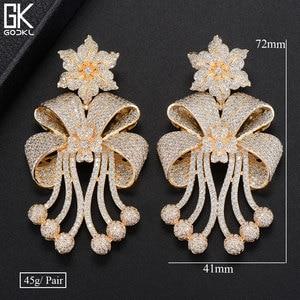 Image 5 - Godki 72mm na moda luxo bowknot borlas nigeriano longo balançar brincos para o casamento feminino zircônia cz dubai dubai bicolor brinco