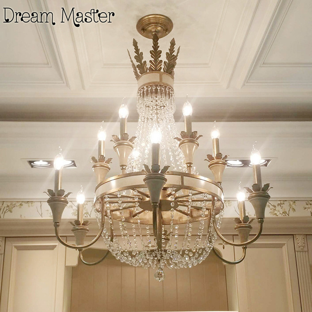 American Luxury Crystal Chandelier Jane Retro French Style Villa Staircase Dining Room European Garden Lamp