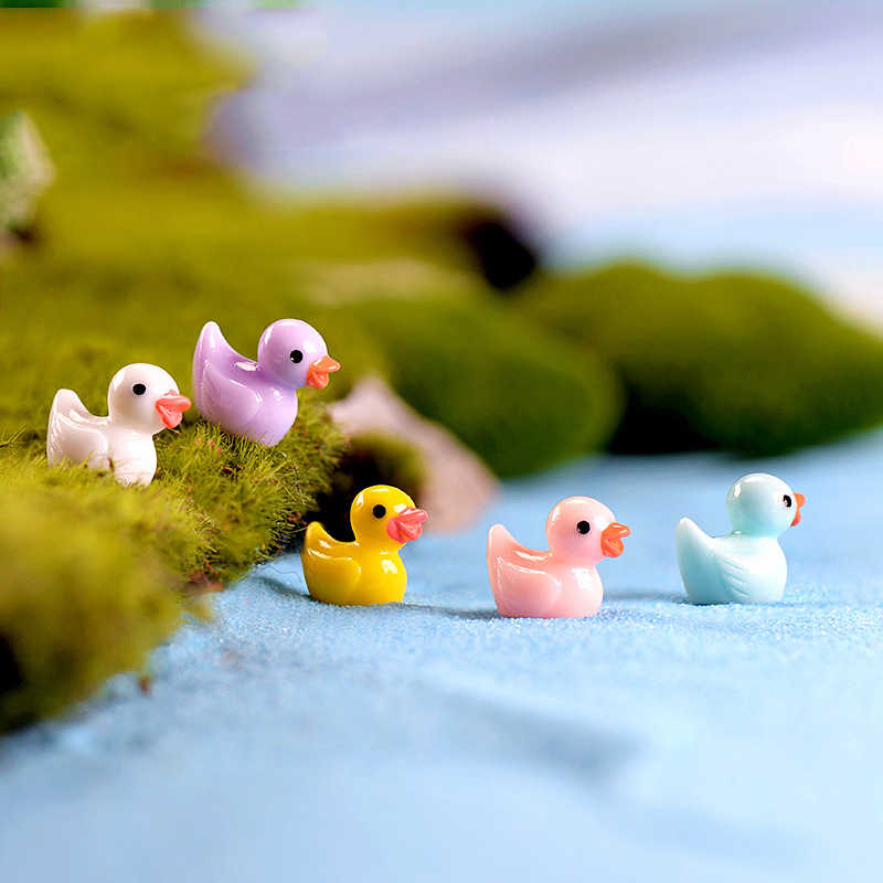 ZOCDOU 5 Pieces Mini Colorful Duck Duckling Pato Small Pasture Statue Figurine Micro Crafts Ornament Miniatures DIY Garden Decor