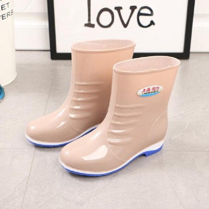 Nouveau Anti De L'eau Caoutchouc Bottes rouge En kaki Manches Chaussures Adulte Bleu Pluie Printemps Ms dérapage Tube D'eau Automne 2018 Femmes Court vert wqvxxg