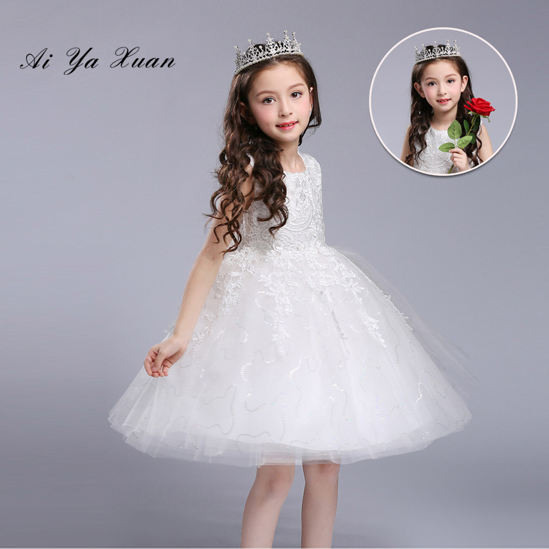 AiYaxuan New Arrival Pink Tulle Exquisite Lace Princess Girl Dress Girl Wedding Birthday Gown  Children Baptism Party Prom dress