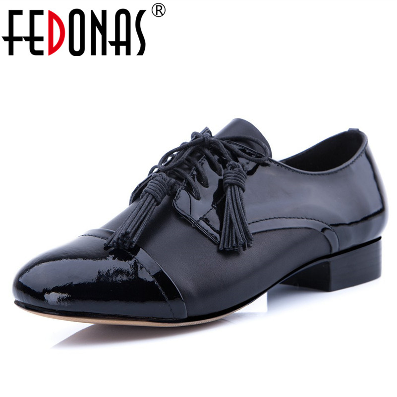 FEDONAS Women's Genuine Leather Flats Moccasins Oxford Mother Girls Lace Up Casual Shoes Woman Punk Comfort Flats Autumn Shoes lovexss casual oxford shoes fashion metal decoration shallow shoes black purple genuine leather flats woman casual oxford shoes