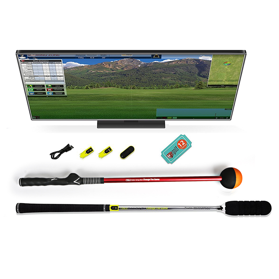 Tittle Micro Golf swing Simulator TruGolf Edition Air Golf Pack Premium, Double-License simulation mini golf course display toy set with golf club ball flag
