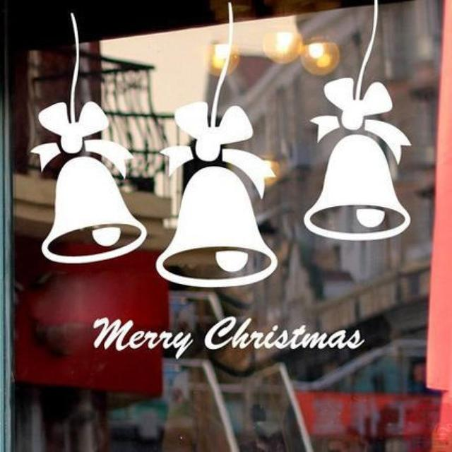 Merry christmas bell quote wall sticker home shop windows decals decor removable91