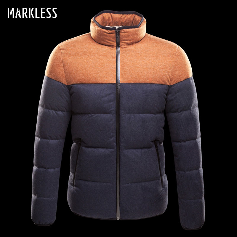 Markless High-end Seamless Men Patchwork Thick Down Jackets Mens Winter Coats Mens Casual Down Male Outerwear Parkas