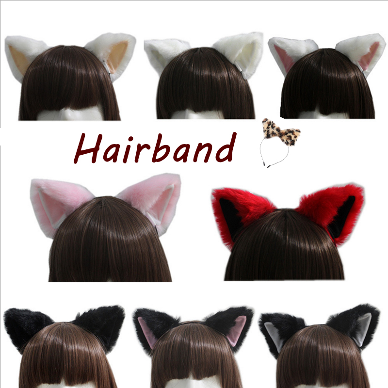 Sexy Girl Fluffy Cat Ears Headwear Soft Fox Ears Hair Bands For Female Cosplay Stage Property Women Cute Hair Styling Accessory