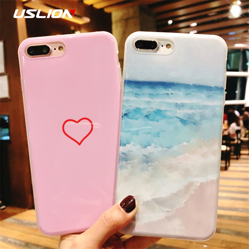 USLION Love Heart Case For iPhone 7 Plus IMD Silicone Phone Cases For iPhone X 8 7 6 6S Plus 5 5s SE Sea Waves Soft Back Cover