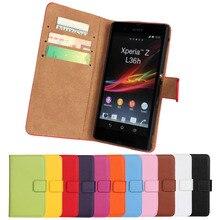 Coque Para Sony Xperia Z L36h C6603 Flip Funda de Cuero cubierta Fundas Capa Casos de Telefonía Celular Etui Genuino cartera de Accesorios bolsas