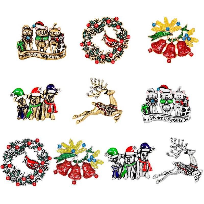 1 Pcs Personality Rhinestone Sleigh Brooches European Fashion Glazed Breastpin Women Christmas Gift Jewelry Hot Sale Evident Effect