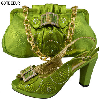 1b5a7247324 Green Color Shoes and Bag Set African Set 2018 Woman Italian Shoes and Bags  Set Party Shoe and Bag Set Decorated with Rhinestone