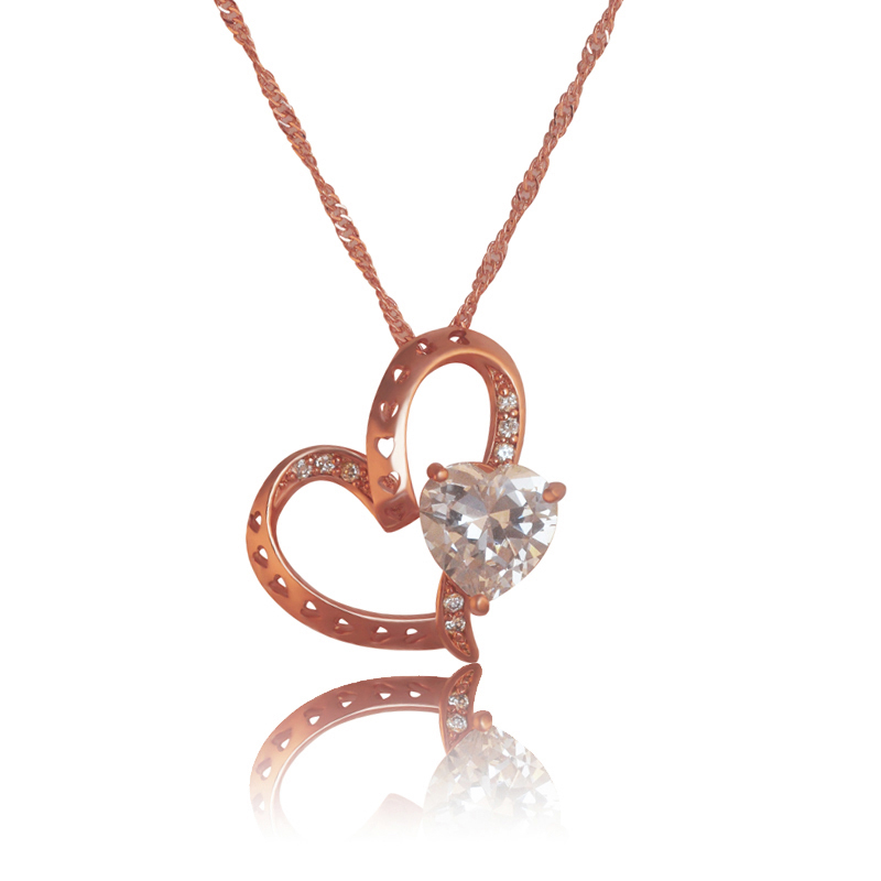 MxGxFam 2017 New Heart Pendant Neklace Women Rose Gold Color with Free Matching Chain