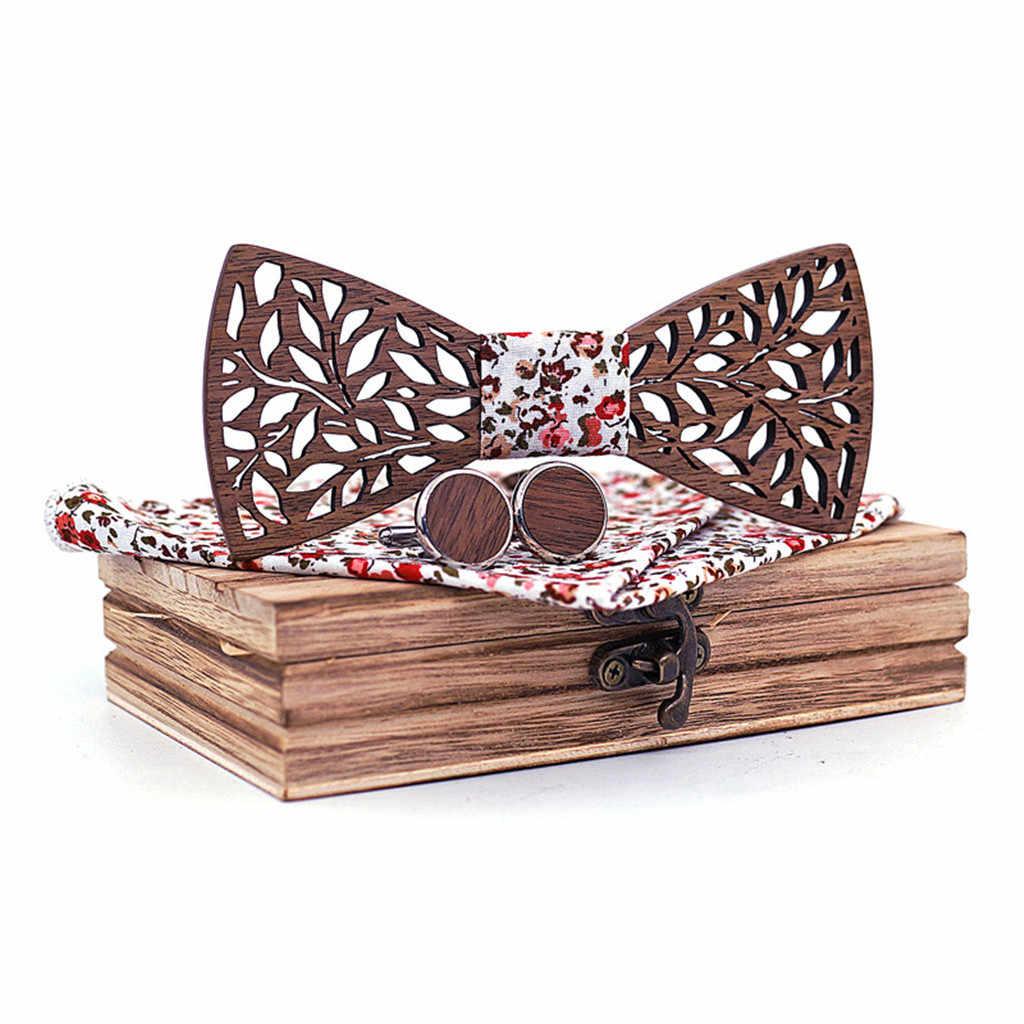 Manual Kayu Dasi Saputangan Set Pria Dasi Kupu-kupu Ukiran Kayu Berongga dan Kotak Dasi Kupu-kupu Dasi untuk Pria gravata Cravate Homme