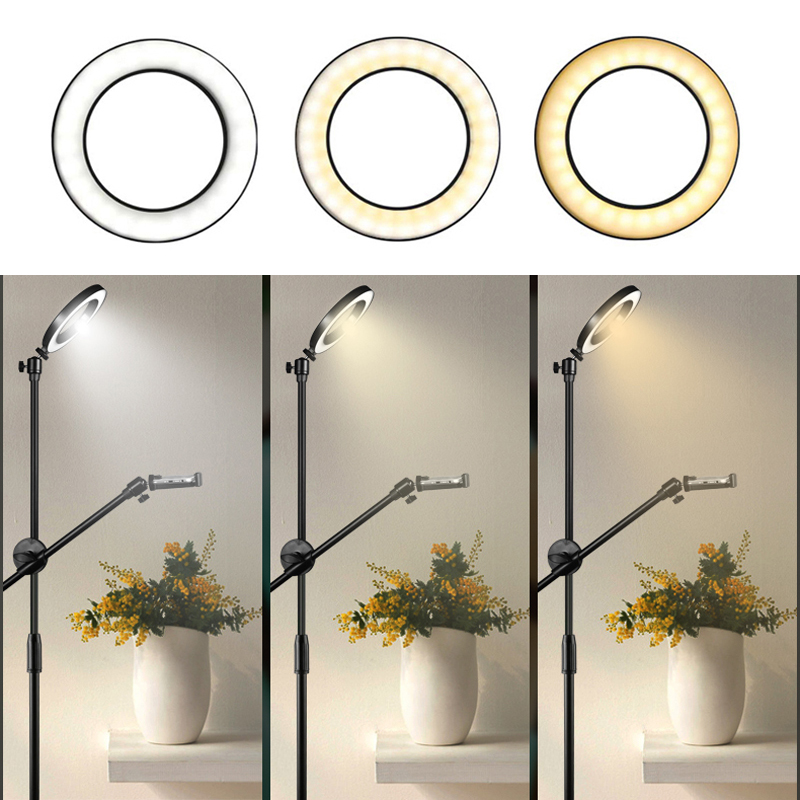 20CM Ring Light Lamp Adjustable Phone Shooting 1 3M Floor Bracket Stand With Boom Arm Set