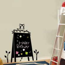 57x83cm Art Owl Stand Blackboard Removable Vinyl Wall Sticker Chalkboard Decal Paper Kids Room A-195