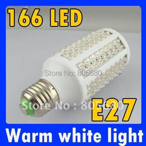 E27 10 Вт 166LED кукурузы лампа теплого белого света от 110-240 V E27