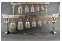 Decoration Copper Silver Factory Outlets Elaborate Chinese Copper Alloy Carving 12 Bell Dragon Instrument Chime