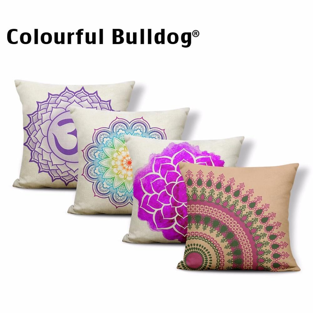 Geometric Mandala Cushion Cover Holiday Chakra Cover Pillow Ikat Tribal Patterns Chair Presents Dakimakura Square Linen Luxury