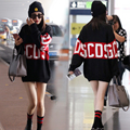 The new airport, Yang mi star sets in same stitching round collar sweater knitting coat female loose letters