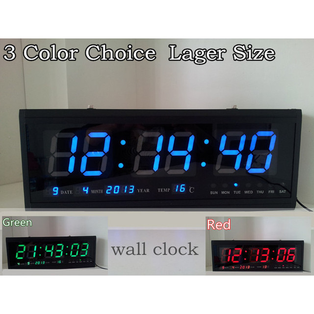 Large Digital Nixie LED Wall Clock Modern Design Home Decor Hallway Living Room Decoration Big Aluminum Watch  GREEN BLUE RED