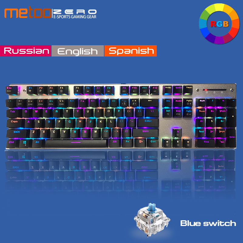 Original genuine Metoo Mechanical Keyboard LED Backlight Anti ghosting 104 keys Blue switch USB Wired Gaming
