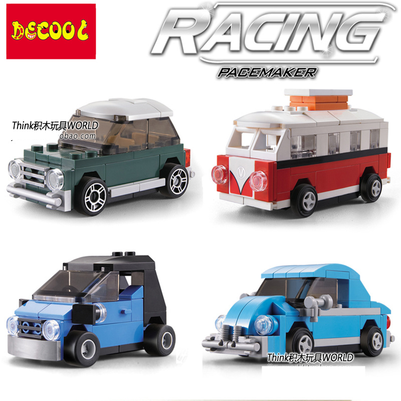 Decool Racing Car Minibus Van Smart Mini Cooper Beetle Back of the car DIY Minifig Action Figures Building Blocks Kids Toys Gift 12pcs set children kids toys gift mini figures toys little pet animal cat dog lps action figures