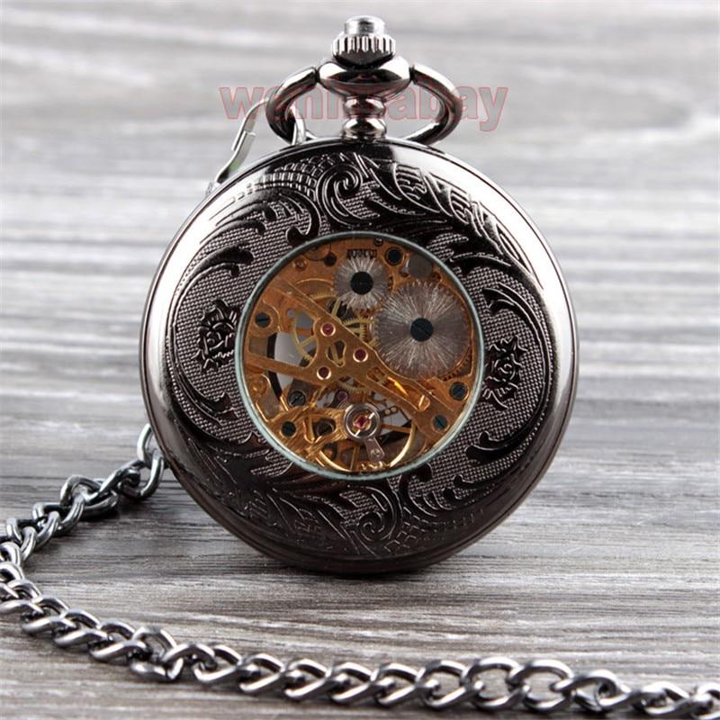 Vintage Սև մեխանիկական գրպանի ժամացույց - Գրպանի ժամացույց - Լուսանկար 6