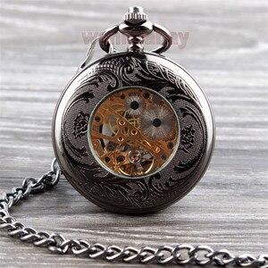 Image 5 - Vintage Schwarz Mechanische Taschenuhr Herren Klassische Elegante Hohl Skeleton Hand wind Retro Männlichen Uhr Anhänger FOB Kette Uhren