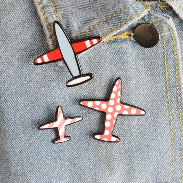 3pcs/set Cartoon Wave Point Stripe Aircraft Plane Metal Brooch Pins Collar Butto