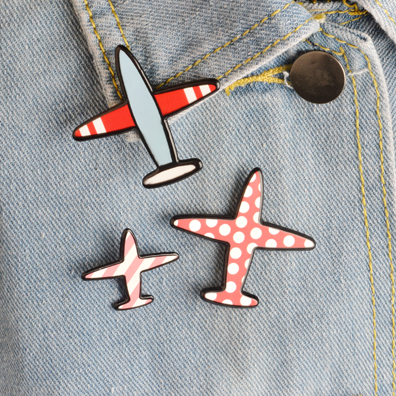 3pcs/set Cartoon Wave Point Stripe Aircraft Plane Metal Brooch Pins Collar Button Pin Denim Jacket Lapel Pin Badge Gift Jewelry