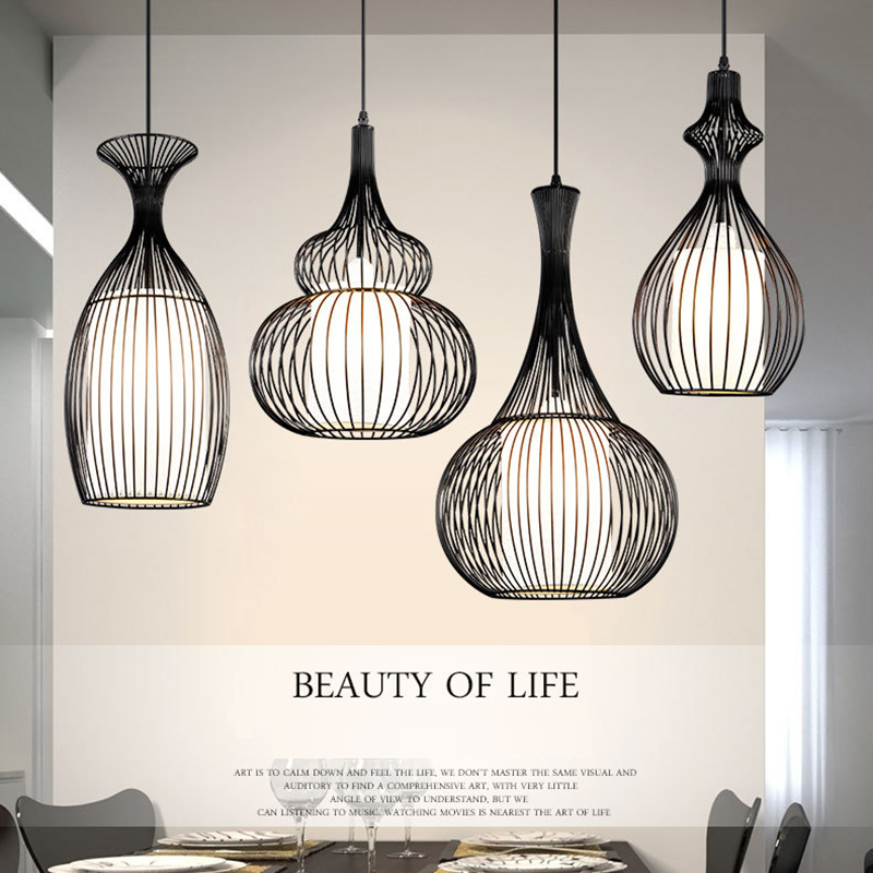 Vintage industrial pendant lights modern led retro cage light E27 pendant wrought iron lamp dining room bar hanging lighting iron modern pendant light wrought iron cage droplight vintage pendant lamps foyer lamp loft light black white e27 85 260v