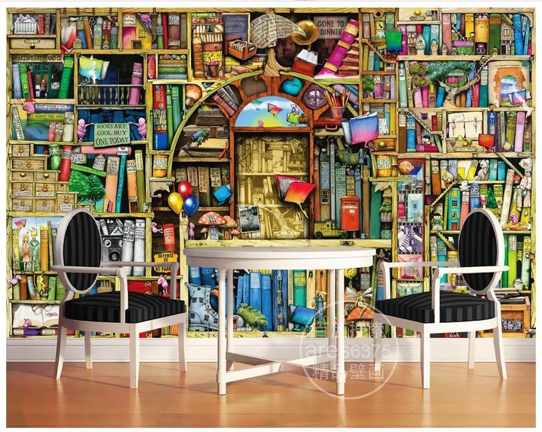 High Quality Hot Sale New Custom Hand Drawn Cartoon Bookcase Bookshelf  Fairy Tale Children Room Background Wall Murals Wallpaper
