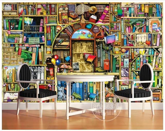 Hohe Qualitat Heisser Verkauf Neue Benutzerdefinierte Hand Gezeichneten Karikatur Bucherregal Marchen Kinderzimmer Hintergrund Wandmalereien
