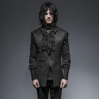 Steampunk Gothic Stand Up Collar Long Vest For Man Black Sleeveless Jacquard Jacket Waistcoats With Floral