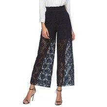 купить black wide leg pants plus size 3xl women summer loose pants high waist trousers 2019 fashion lace baggy pants for ladies 0101 по цене 790.26 рублей