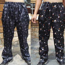 Kitchen pants waterproof oil elastic waist printing pants men wear breathable thin section chef pants summer loose cook uniforms